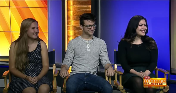 Three theatre arts students sitting for an interview on a morning news show.
