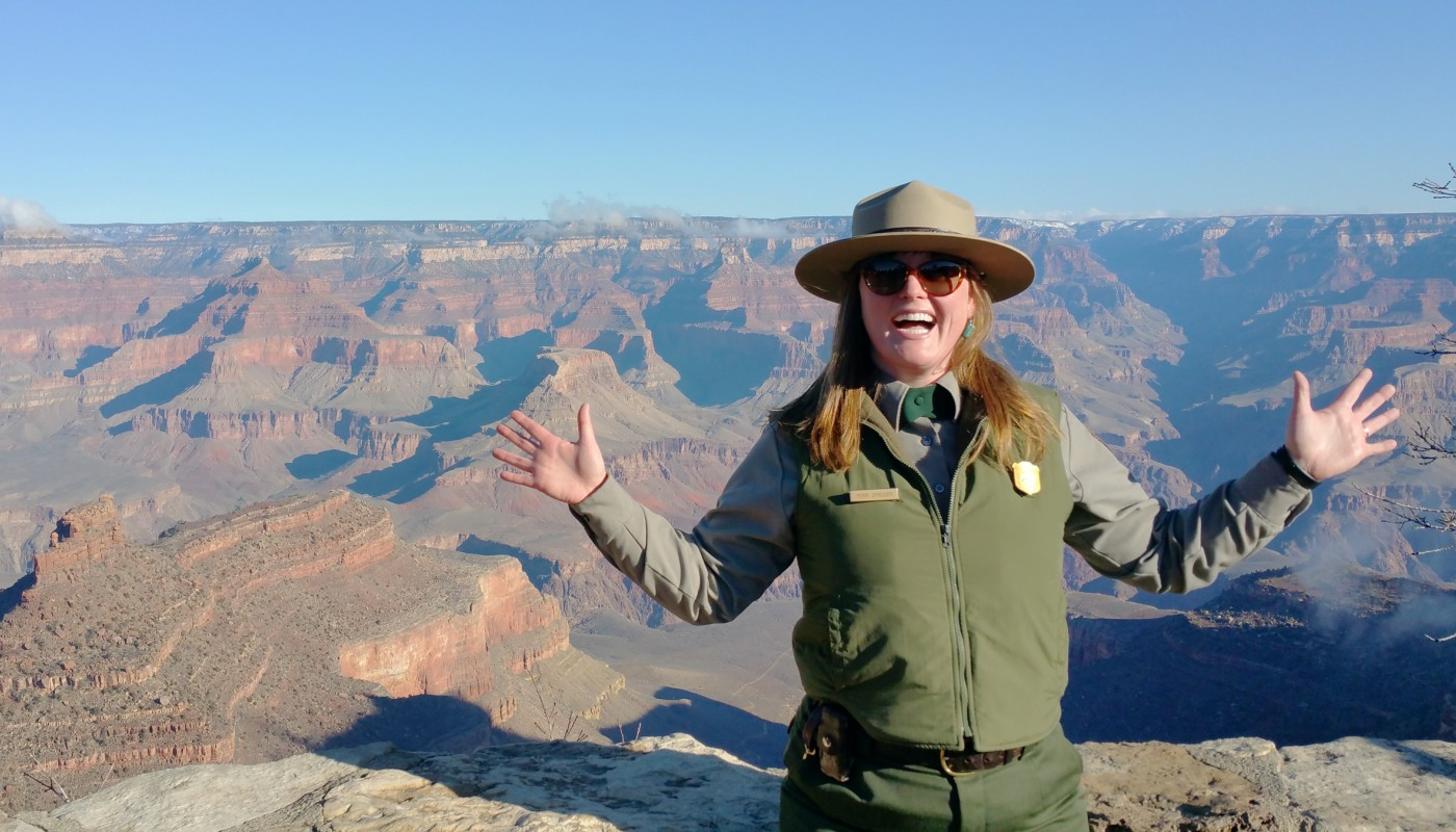 Ranger in front of Grand Canyon