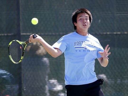 George Jiang hitting tennis ball