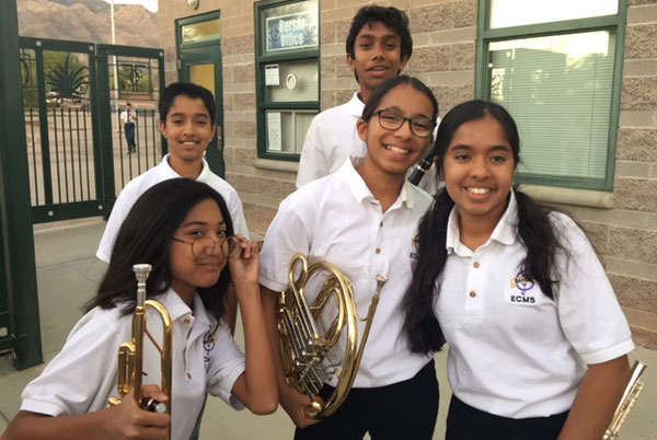 5 Middle School Band Students