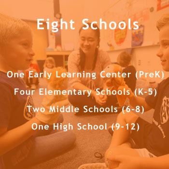 Eight Schools. One Pre-k. Four Elementary schools. Two Middle Schools. One High School.